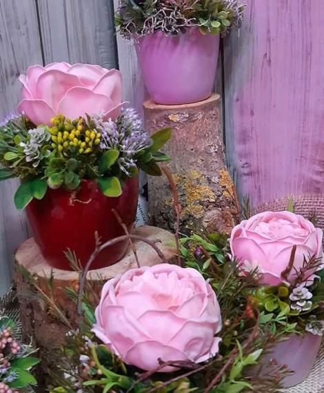 Szappan rózsás asztali dísz