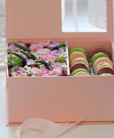 Polifoam virágbox macaronnal
